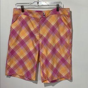 PGA tour golf shorts size 12 plaid pink/orange